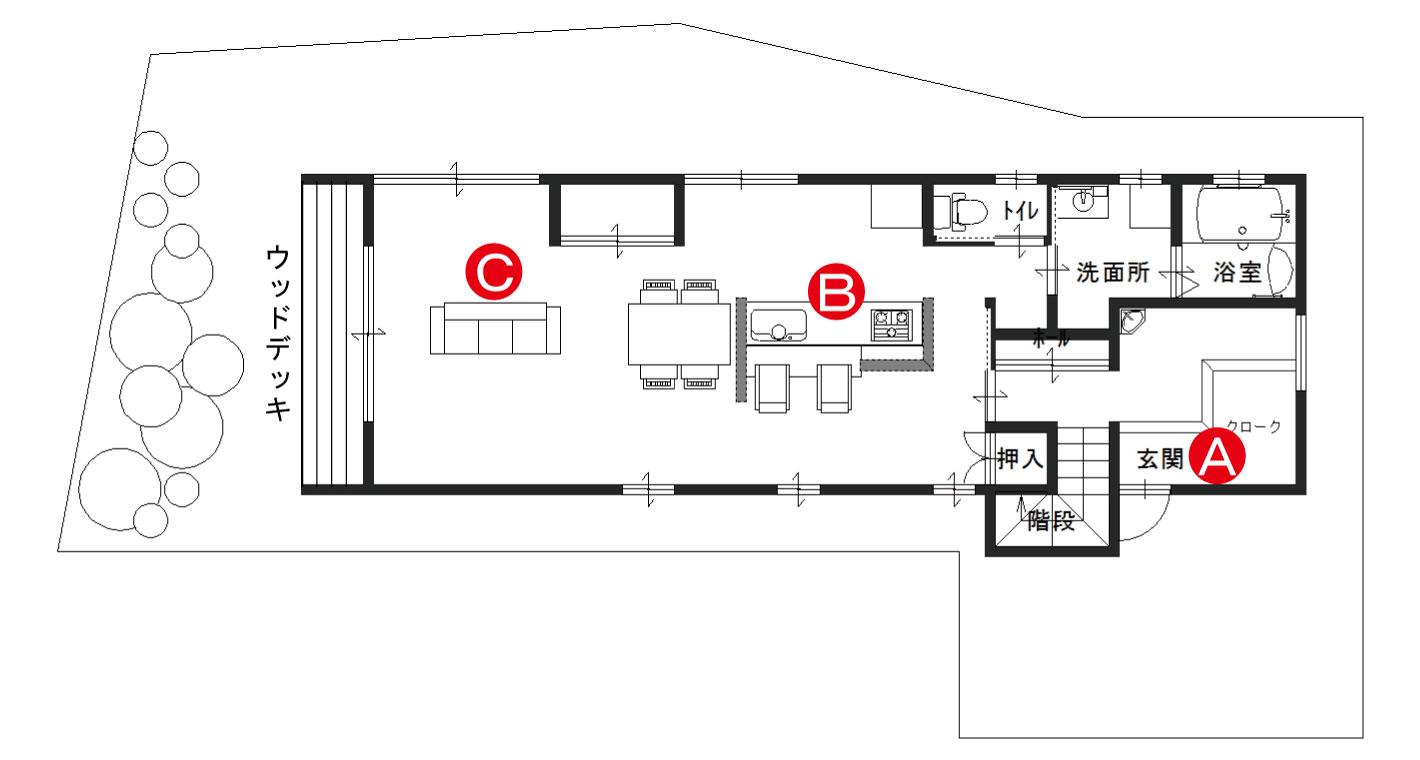 平面図 1F,リビング,ダイニング,ウッドデッキ,洗面所,浴室,押入,玄関,階段,クローク
